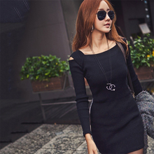 Buy Square Collar Sexy Shoulder knitting Long Sleeve Dress 2017 Autumn Winter Women Sheath Stretch Casual Mini Bodycon Dress for $8.54 in AliExpress store