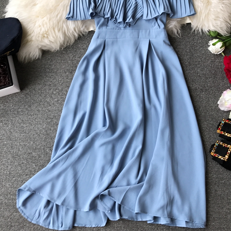 2019 Spring Women Chiffon Pleated Braces Sling Spaghetti Strap Goffer Long Dress Ladies Ruffles Empire Drapped Swing Slip Dress 192