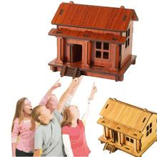 MUQGEW Wooden Toys Multidimensional Wooden puzzle 3D stereo diy hut Architectural style Kids Toys Brinquedo Educativo Z07(China)