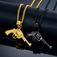 Gun Pendant Necklace Punk Rock Jewelry Men Women Revolver Gun Necklace Black/Gold Color Stainless Steel Choker Necklaces(China)