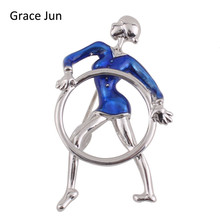 Grace Jun 2017 New Fashion Alloy Material Brooches Blue Enamel Sport Woman Shape Brooches for Women Charm Silver Plated Bijoux