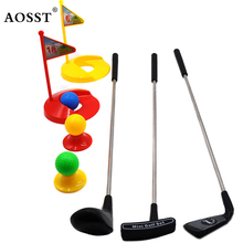 Hot 15 pcs Funny Multicolor Plastic Golf Club Toys for Children Outdoor Backyard Sport Game Ball Set Golf Outdoor sport toy(China)