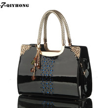 2017 New Fashion Patent Leather Handbags Women Famous Brand Tote Bags Black Hollow Out Embossed Shoulder Bags