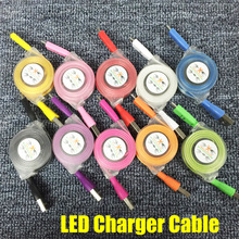 LED Light 8Pin Micro USB Sync Data Charging Cable with Reel for iPhone 7 6 6S Plus 5C 5S SE Samsung S6 S7 J7 A5 LG Android Phone