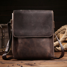 NEWEEKEND Retro Casual Genuine Leather Cowhide Crazy Horse Anti-theft Shoulder Messenger Crossbody iPad Bag for Man Male 8069