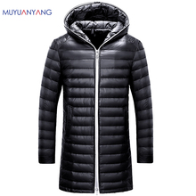 2017 New Fashion 50% Off Autum and Winter Men Down Coats Lightweight Man Down Jackets Solid Hooded Duck Down Long Clothing 3XL