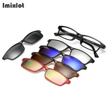 Imixlot 5 Lens Gray Polarized Magnetic Clip On Sunglasses Over Prescription Glasses Men Women Fit Over Magnetic Sunglasses(China)