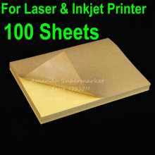 Lowest Price 100 Sheets A4 Blank Kraft Label Sticker Paper Brown Self adhesive Paper For Laser & Inkjet Printer(China)