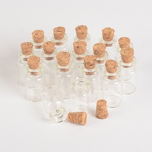 Wholesale 1ml Mini Glass Bottles Vials With Cork Empty Tiny Transparent Glass Bottle Jars 13*24*6mm 100pcs/lot Free Shipping(China)