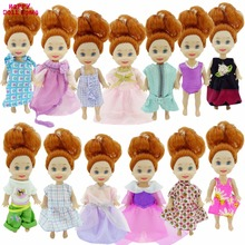 Random 10x Mini Outfit Mixed Style Fashion Casual Wear Little Dress Clothes For Barbie Sister Kelly Doll Dollhouse Accessories(China)