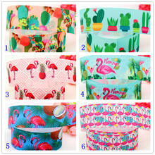 DHK 1.5'' Free shipping cactus flamingo pineapple printed grosgrain ribbon headwear hair bow diy party decoration OEM 38mm B1469(China)