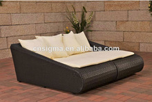 Elegant design outdoor rattan sun lounger double sofa bed