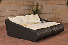 Elegant design outdoor rattan sun lounger double sofa bed(China)