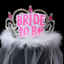 1pcs white/black Bride to be Veil Bridal Crown Accessories Bachelorette Party Hen Event Party Supplies Wedding Favors Gifts(China)