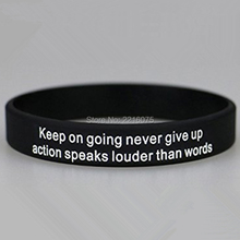 300pcs Custom keep on going never give up silicone wristband rubber bracelets free shipping by DHL express(China)
