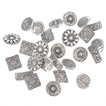 FUNIQUE 50PCs Mixed Antique Silver Tone Metal Buttons Scrapbooking Shank Buttons Handmade Sewing Accessories Crafts DIY Supplies