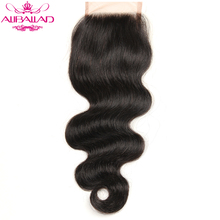 Aliballad Brazilian Body Wave 4x4 Lace Closure Free Part Non-Remy Hair 10-20 Inch Natural Color 100% Human Hair
