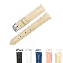 12mm 14mm 16mm 18mm 20mm Leather Watch Band Pink Beige Blue Watchband Genuine Leather Strap For Hour with Stianless Steel Buckle
