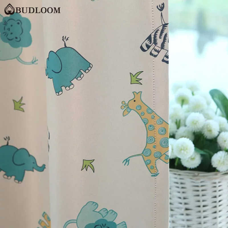 Budloom animal curtains for baby room blackout cartoon curtains for bedroom kids room elephant curtains lovely window drape