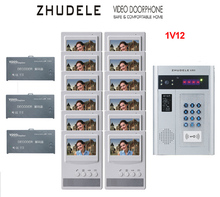 "ZHUDELE Building Home security intercom system 12 Units Apartment Video Door Phone Bell Intercom System 4.3""TFT monitor IN STOCK"