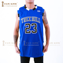 TIM VAN STEENBERGEB Nathan Scott 23 One Tree Hill Ravens Basketball Jersey All Sewn-Blue(China)