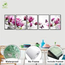 Modern 5pcs Magnolia Melamine Sponge Board Canvas Oil Painting Landscape Pink Flowers Wall Art Framed Paint Home Decor Pictures(China)