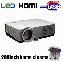 Brand New! Best 2000 lumens LED HD Home Theater 3D Portable Projector With 2HDMI+2USB+Analog TV Tuner