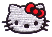 FREE SHIPPING - Hello Kitty Iron On Patches Clothes Tee Shirt Hat Jean shoes Jacket Pet Clothing Red Silvery Gifts
