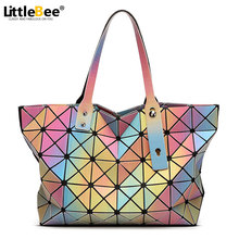 2016 Fashion Women BAOBAO Bag tote Geometric Handbag Sequins Laser Plain Folding bags women famous brand Shoulder Bag BAOBAO