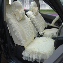 Beige women cute lace Girl Car Seat Cover cushion new car gift including 5 seats cover and 9pcs Car Accessories styling HB05