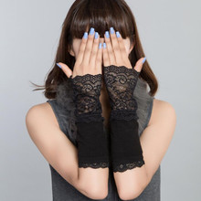 Winter Arm Warmers for Women Hand Warmer Black Cotton Fingerless Long Gloves Lace Arm Sleeve Arm Warmer(China)
