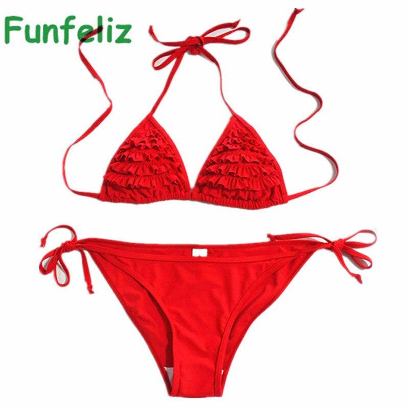 Women Red Bikini pleated ruffle Triangle bikini SET maillot de bain Sexy WOMEN swimwear Womens BATHING SUITS<br><br>Aliexpress