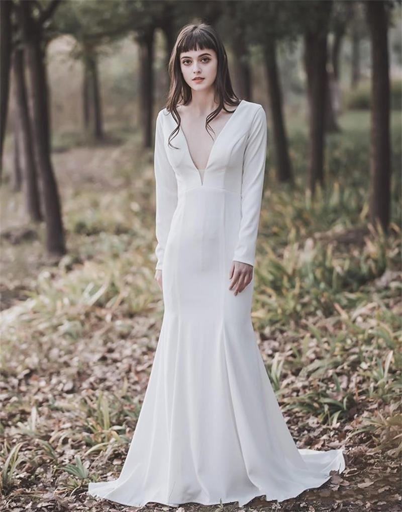 Simple Deep V-Neck Country Wedding Dresses 2019 Long Sleeves Mermaid Summer Boho Mariage Gowns Cheap vestido de noiva sereia