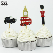 24pcs Cool Bus Taxi soldier Mickey Donald Car Spiderman cartoon cake cup topper decoration birthday party christmas suppliers