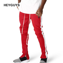HEYGUYS 2018 Fitness Casual Trousers Fitted zipper street hip hop straight man pants
