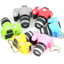 10pcs/Lot SLR Camera Model Keychain Creative Fashion Colorful Kaca Sound LED Light Flash Keyring Key Chain Ring Keyfob