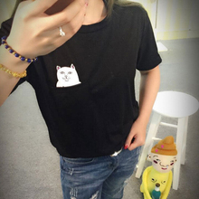 T shirt women brand summer naughty white cat 3D t shirt women lovely cartoon shirt Good quality comfortable brand cotton shirts