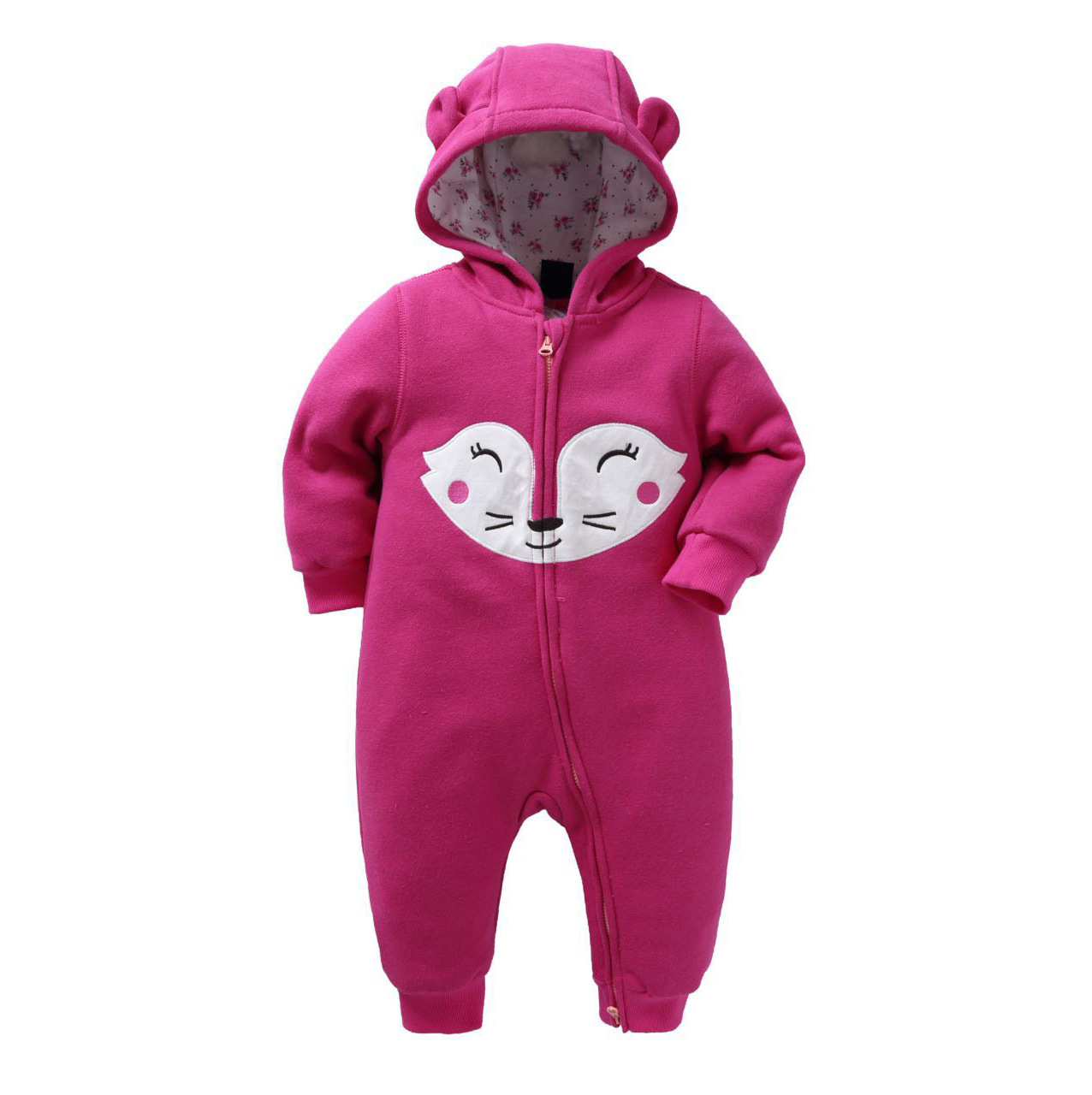 Lovely Cartoon Fox Baby Romper Newborn Children Kit Cotton Clothing Baby Girl Clothes Winter Hooded With Hat Infantil Jumpsuits<br><br>Aliexpress