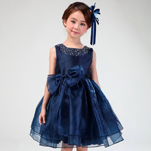 Flower Girl Dresses Child Navy Blue Sleeveless Fancy Formal Vestidos 2017 Kids Clothes For Girls Of 3 To 14 Year Old AKF164082(China)