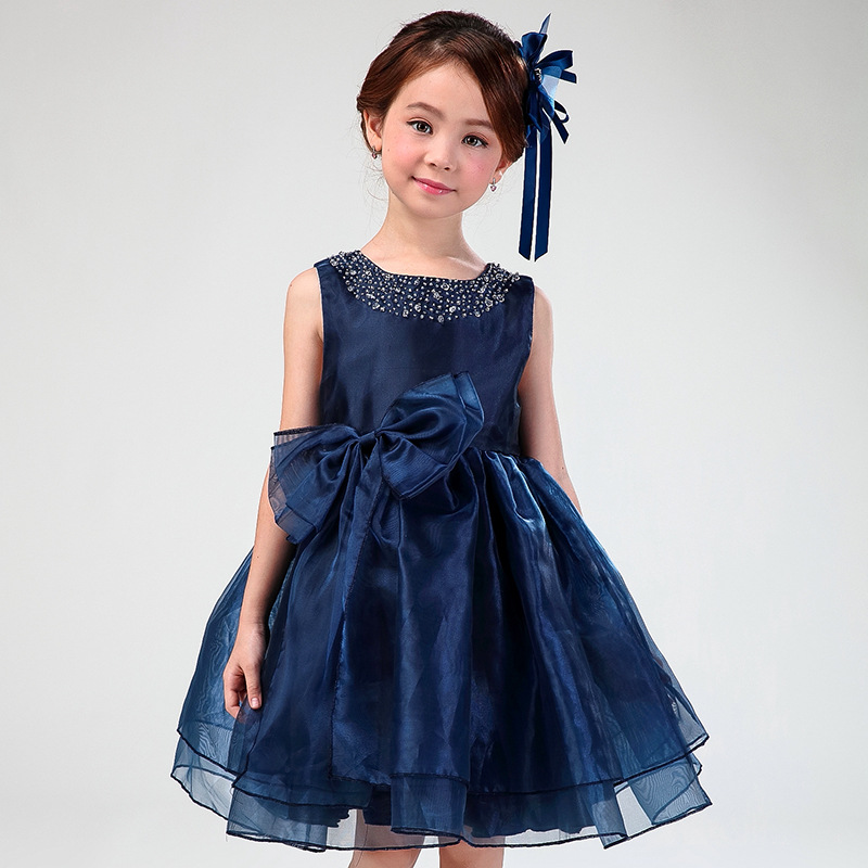 Flower Girl Dresses Child Navy Blue Sleeveless Fancy Formal Vestidos 2017 Kids Clothes For Girls Of 3 To 14 Year Old AKF164082<br>