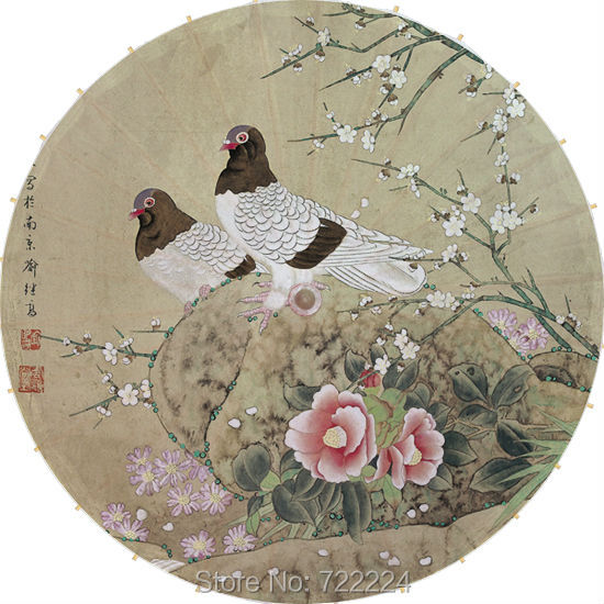 Dia 84cm Chinese handmade pigeons in flowers picture classical waterproof parasol decoration dance cosplay oiled paper umbrella<br>