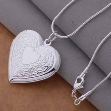 Free Shipping Silver plated Necklaces & Pendants Fashion Silver Jewelry Surface patterns heart /cmyalefa dzkamqra AN736(China)