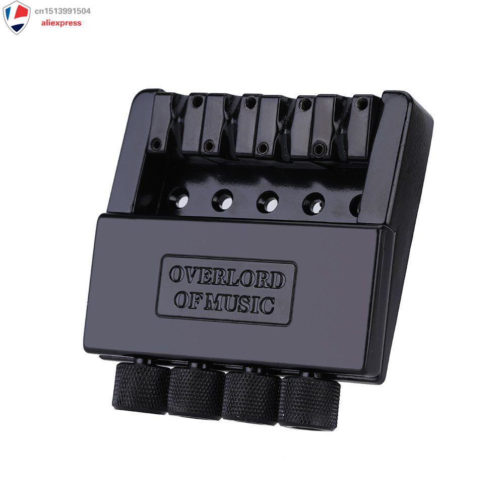 1 Set Black 4 String Headless Bass Guitar Bridge System Guitar Parts<br>