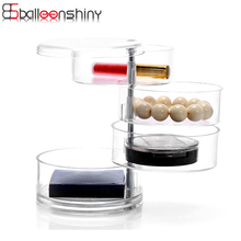 BalleenShiny 4 Layers Cosmetic Organizer Rotation Jewelry Box Acrylic Dust-proof Storage Box Daily Household Organizador