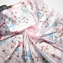 90cm*90cm 2017 Fashion Brand Female Pink Scarf,Women Polyester Silk Scarf Flowers Design Satin Big Square Scarf/Shawl For Ladies(China)