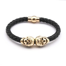 2016 Hot Selling Fashion Braided Leather Bracelets Gold Skull Bracelet Punk Wrap Bracelet Women Men(China)