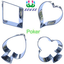 Four Playing Cards Shape Cake Decorating Tools,Diamonds,Hearts,Spades And Clubs Cookie Baking Molds,Direct Selling