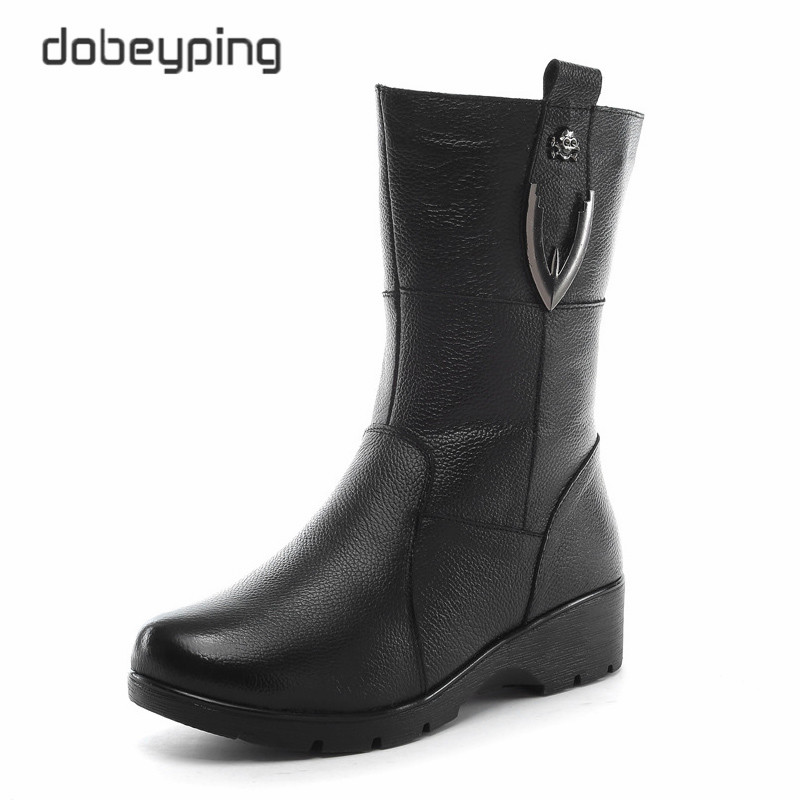 dobeyping 2017 New Winter Plush Women Boots Mid-Calf Snow Boots Woman Keep Warm Mother Botas Genuine Leather Flats Shoes Women<br>