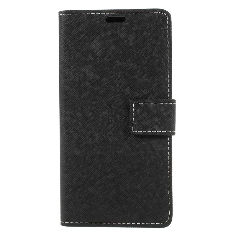 TobeThird Sony XZ1 Case Cross Texture Stand Wallet Card Holder PU Leather Cover Case Sony Xperia XZ1 G8341