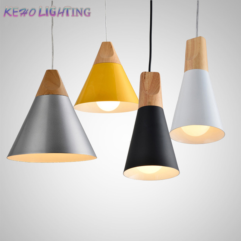 Nordic Modern Pendant Lights Wooden+Aluminum Colorful Pendant Lamps For Restaurant coffee Bar Dinning Room E27 Pendant Lights<br><br>Aliexpress